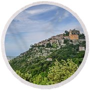 Chateau D'eze On The Road To Monaco Round Beach Towel by Allen Sheffield