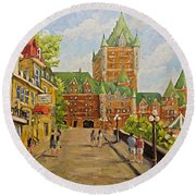 Chateau Frontenac Promenade Quebec City By Prankearts Round Beach Towel