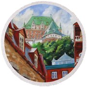 Chateau Frontenac Round Beach Towel