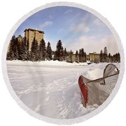 Chateau Lake Louise In Winter In Alberta Canada Round Beach Towel