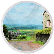Chateauneuf, Cote-d'or, France, Village Lane Round Beach Towel