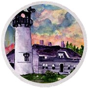 Chatham Lighthouse Martha's Vineyard Massachuestts Cape Cod Art Round Beach Towel