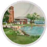 Chautauqua Bell Tower And Beach Round Beach Towel