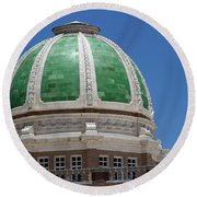 Chaves County Courthouse Green Terracotta Dome Round Beach Towel
