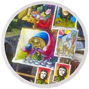 Che Guevara And Other Artwork Round Beach Towel