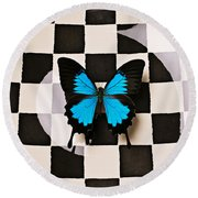 Checker Plate And Blue Butterfly Round Beach Towel
