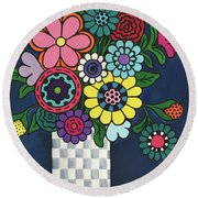 Checkered Bouquet Round Beach Towel