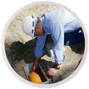 Checking Seismometer Round Beach Towel