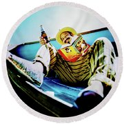 Cheech Marin In Boat Round Beach Towel
