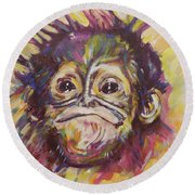 Cheeky Lil' Monkey Round Beach Towel