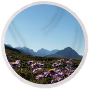 Cheerful Alpine Daisy Meadows Round Beach Towel