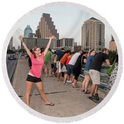Cheerful Attractive Female Austinite Waves Her Hands With Excitement On Seeing The Austin Bats Round Beach Towel
