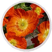 Cheerful Orange Flowers  Round Beach Towel
