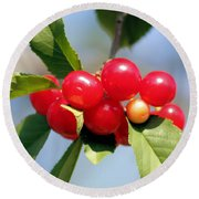 Cheery Cherries Round Beach Towel