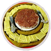 Cheese And Crackers Round Beach Towel