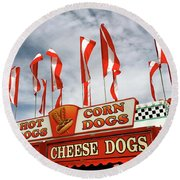 Cheese Dogs Galore Round Beach Towel