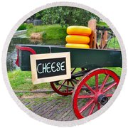 Cheese On A Wagon Round Beach Towel