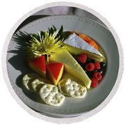 Cheese Wedges With Crackers And Fruit Round Beach Towel
