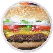 Cheeseburger Deluxe Round Beach Towel