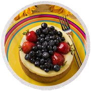 Cheesecake With Fruit Round Beach Towel