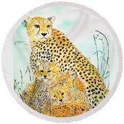 Cheetah Family Round Beach Towel