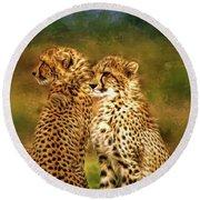 Cheetah Siblings Round Beach Towel