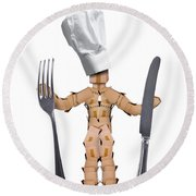 Chef Box Man Character With Cutlery Round Beach Towel