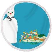 Chef Snowman Round Beach Towel
