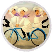 Chefs On A Bike Round Beach Towel