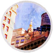 Chelsea Water Tower Round Beach Towel