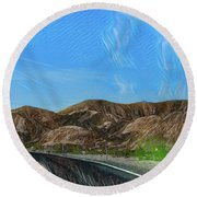 Chem Trails Valley Of Fire  Round Beach Towel