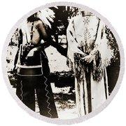 Cherokee Indian Couple Round Beach Towel