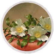 Cherokee Roses Round Beach Towel by Martin Johnson Heade