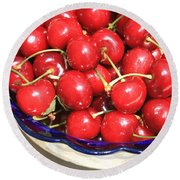 Cherries In A Bowl Close-up Round Beach Towel