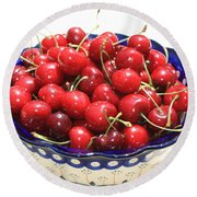 Cherries In Blue Bowl Round Beach Towel