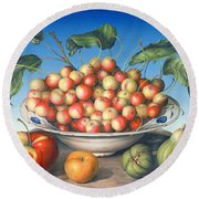 Cherries In Delft Bowl With Red And Yellow Apple Round Beach Towel