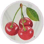 Cherry Times Three Round Beach Towel