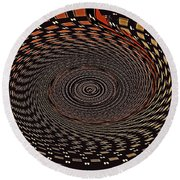 Cherry Basket Weaving Abstract Round Beach Towel