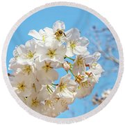 Cherry Blossom And A Bee Round Beach Towel