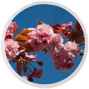Cherry Blossom Flowers Round Beach Towel