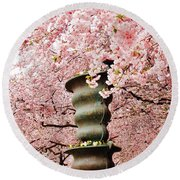 Cherry Blossom In Stockholm Round Beach Towel