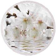 Cherry Blossom In Water Round Beach Towel