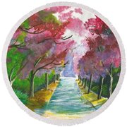 Cherry Blossom Lane Round Beach Towel