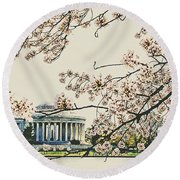 Cherry Blossom Tidalbasin View Round Beach Towel