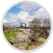 Cherry Blossom Trees At Portland Waterfront Round Beach Towel