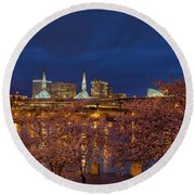 Cherry Blossom Trees At Portland Waterfront During Blue Hour Round Beach Towel