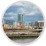 Cherry Blossom Trees At Portland Waterfront Park Round Beach Towel