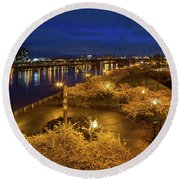 Cherry Blossom Trees At Portland Waterfront Park During Blue Hou Round Beach Towel