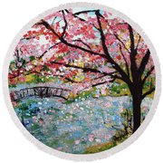 Cherry Blossoms And Bridge 3 201730 Round Beach Towel