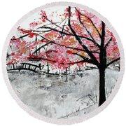 Cherry Blossoms And Bridge Meadowlark Botanical Gardens 201728 Round Beach Towel